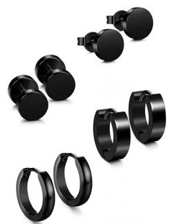 Jstyle 4 Pairs Stainless Steel Stud Earrings for Men Women H