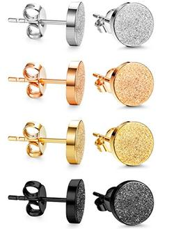 Jstyle 4 Pairs Stainless Steel Stud Earrings for Men Women E