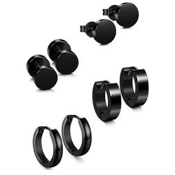 4 Pairs Women Men Black Stud Hoop Earrings Set Stainless Ste