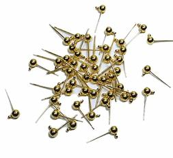 48 Gold Plated Brass Ear Studs 4mm Solid Ball Post with Loop