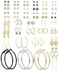 Jstyle 48 Pairs Assorted Multiple Stud Earrings for Womens