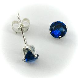4mm ROUND Sapphire Blue Stud Post Earrings in SOLID 925 Ster