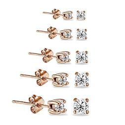 5 Pair Set Rose Gold Flashed Sterling Silver Cubic Zirconia