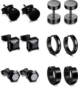 Jstyle 6 Pairs Stainless Steel CZ Stud Earrings for Women Me