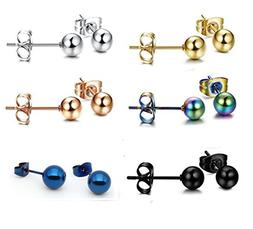 Tupai 6 Pairs Stainless Steel Round Ball Stud Earrings for M