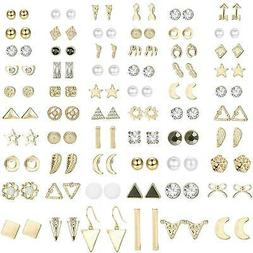 ORAZIO 60 Pairs Stud Earrings for Women Men Triangle, A:Gold