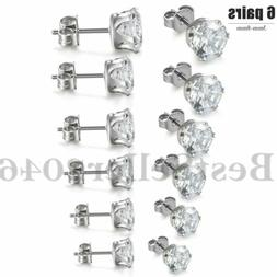 6Pairs Stainless Steel Cubic Zirconia Round Cut Men Women St
