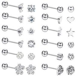 8 Pairs Stainless Steel Ball Stud Earrings Barbell Cartilage