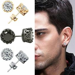 6/8/10mm Men Women Sterling Silver Post Stud Crown Cubic Zir