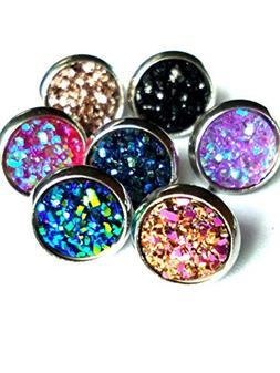 8mm 12 Pairs pack Stainless Steel faux druzy Studs Earrings