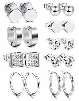 Jstyle 9 Pairs Stainless Steel Stud Earrings for Women Mens