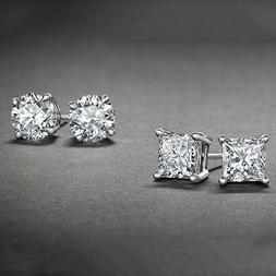 Surgical 316L Stainless Steel Stud Earrings Cubic Zircon Rou