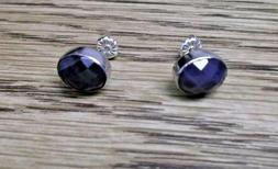 Jay King 925 Silver Blue Sapphire Oval Stud Earrings NWT