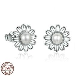 925 Silver Daisy Flower Freshwater Pearl Stud Earrings. 20 t