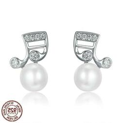 925 Silver Music Note Fresh Water Pearl Stud Earrings 20 / 4