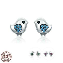 925 Sterling Silver 3 Color Little Bird CZ Stud Earrings. 20
