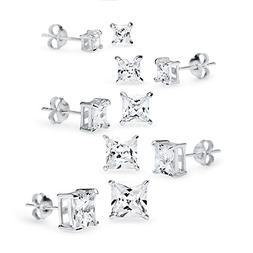 925 Sterling Silver 5 Pair Set of Square CZ Cubic Zirconia S