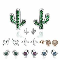 925 Sterling Silver Bird Cactus Butterfly Stud Earrings. 20