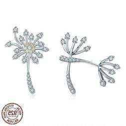 925 Sterling Silver Blooming Dandelion Love Stud Earrings. 2