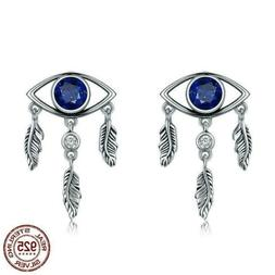 925 Sterling Silver Blue Eyes Feathers Stud Earrings. 20 to