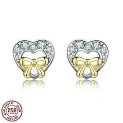 925 Sterling Silver Bowknot Heart Shape CZ Stud Earrings. 20