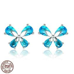 925 Sterling Silver Butterfly Light Blue CZ Stud Earrings. 2