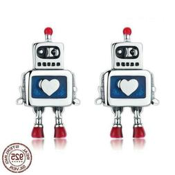 925 Sterling Silver Childhood Robot Heart Stud Earrings. 20