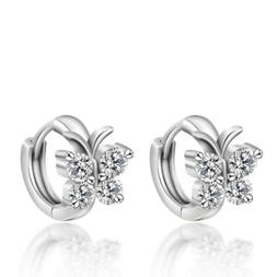 925 Sterling Silver Crystal Stud Earrings Butterfly Design 2