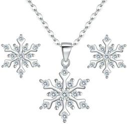 925 Sterling Silver Cubic Zirconia Snowflake Pendant Necklac