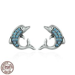 925 Sterling Silver Dolphins Stud Earrings Blue CZ Crystal 2