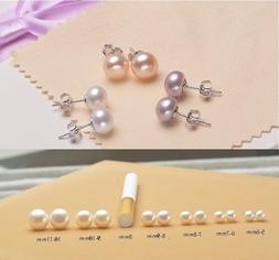 925 Sterling Silver Genuine Freshwater 3-12mm Pearl Stud Ear