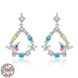 925 Sterling Silver Hummingbird Cubic Zircon Stud Earrings.