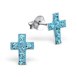 925 sterling silver hypoallergenic aquamarine crystal cross