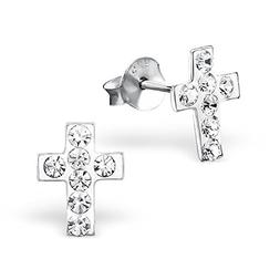 925 sterling silver hypoallergenic clear crystal cross
