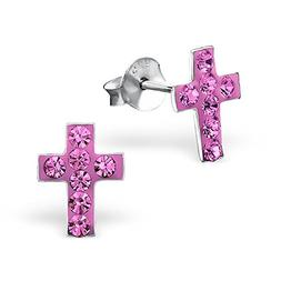 925 Sterling Silver Hypoallergenic Rose Crystal Cross Stud E