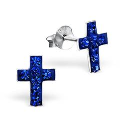 925 Sterling Silver Hypoallergenic Sapphire Crystal Cross St