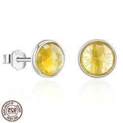 925 Sterling Silver November Birthday Stone Stud Earrings. 2