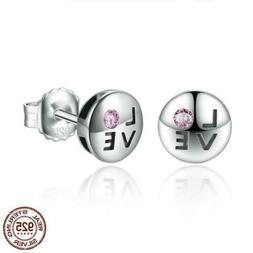 925 Sterling Silver Pink Crystals LOVE Small Stud Earrings.