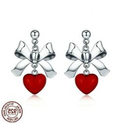 925 Sterling Silver Red Heart Bowknot Female Stud Earrings 2