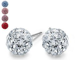 .925 Sterling Silver Round Ball Disco Crystal Stud Earrings