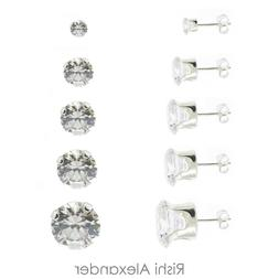 925 Sterling Silver Round Cubic Zirconia Clear CZ Stud Earri
