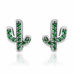 925 Sterling Silver White & Green Cactus Stud Earrings 20 to