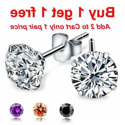 925 Sterling Silver White, Black,or Silver Round Cut CZ Stud