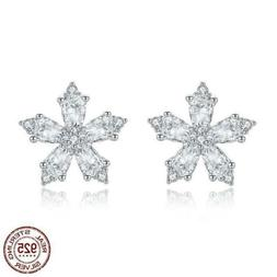 925 Sterling Silver Winter Crystal Ice Flower Stud Earrings