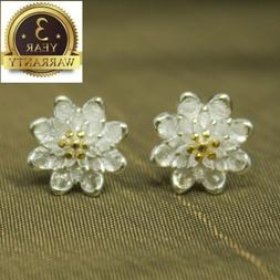 925 Sterling Silver Women Jewelry Cute Flower Elegant Crysta
