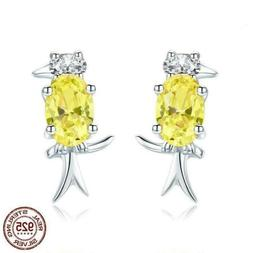 925 Sterling Silver Woodpecker Bird Yellow CZ Stud Earrings