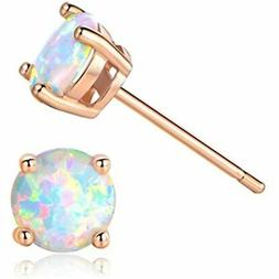 fc1bca170 GEMSME 18K Rose Gold Plated Opal Stud Earrings 6MM Round For