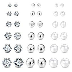 JewelrieShop Stainless Steel Cubic Zirconia Studs Earrings R