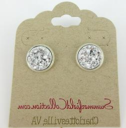 Silver-tone Faux Druzy Stone Stud Earrings 12mm
