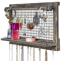 SoCal Buttercup Rustic Brown Jewelry Organizer with Removabl